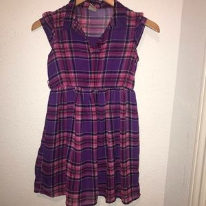 Girls Faded Glory M 7-8 Purple Cap Sleeve Dress